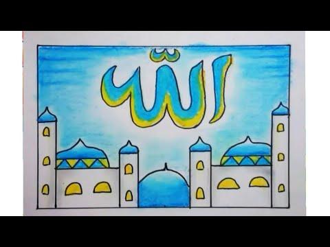 Cara menggambar dan mewarnai kaligrafi dan masjid yang mudah