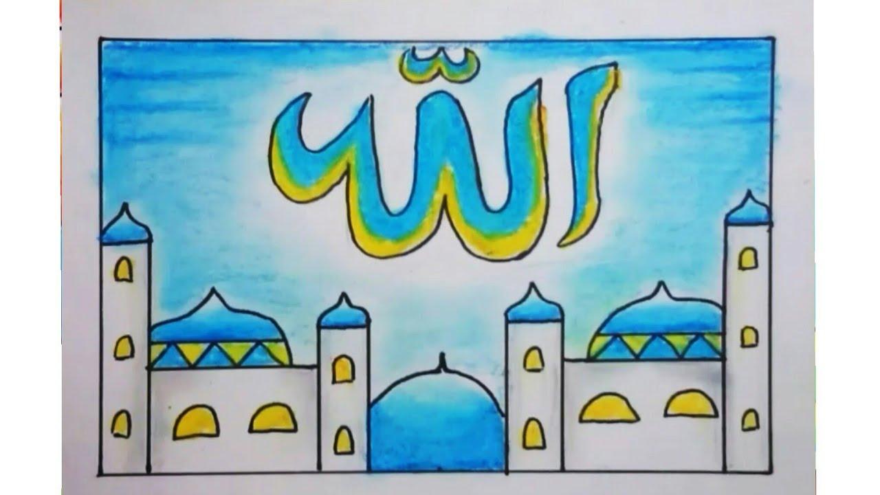 Cara Menggambar Dan Mewarnai Kaligrafi Dan Masjid Yang Mudah Youtube