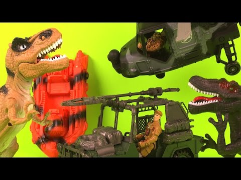 DINOSAUR T-REX HUNTING PLAY SET WITH T REX SOLDIERS HELICOPTER AND  PURSUIT VEHICLES BOAT TRUCK