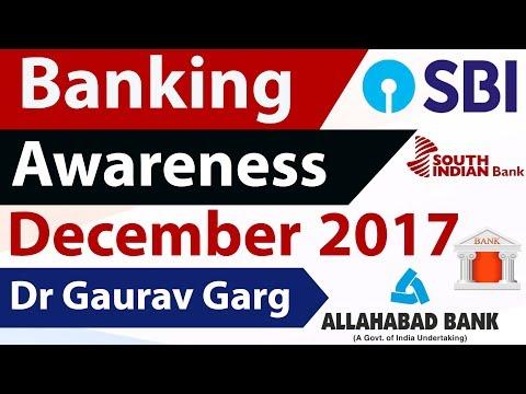 (English) Banking Awareness December 2017 Part 1 for IBPS PO Clerk 2018 , RBI Grade B /SBI PO /JAIIB