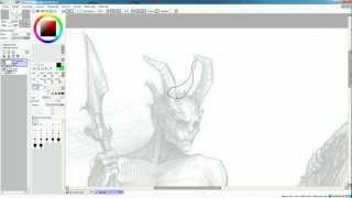 Обводка рисунка в Paint Tool SAI