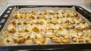 Картофельные дольки в духовке с сыром и чесноком