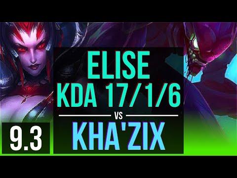 ELISE vs KHA'ZIX (JUNGLE)   KDA 17/1/6, 2 early solo kills, Legendary   Korea Master   v9.3