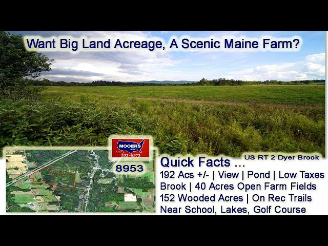 Farms For Sale In Maine | 192 Acres US RT 2 Dyer Brook ME Land MOOERS REALTY #8953