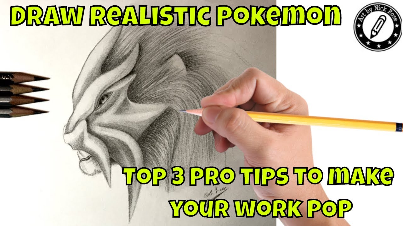 How to draw pokemon characterslearn to draw enteiamazing realistic graphite interpretation