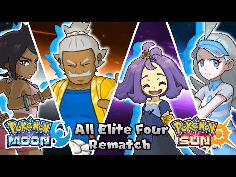 pokemon sun moon all elite four rematch battle hq youtube
