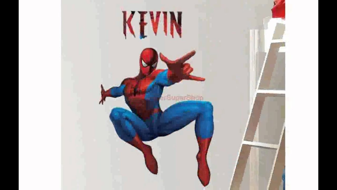 Spiderman wall stickers youtube spiderman wall stickers amipublicfo Choice Image