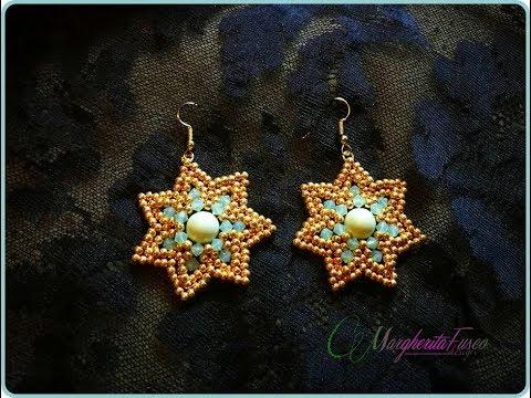 Tutorial con perline| orecchini fior di loto con rocailles, perla e bicono