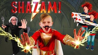 Shazam Super Hero Showdown In Real Life! Shazam Super Powers VS Crazy Twins!