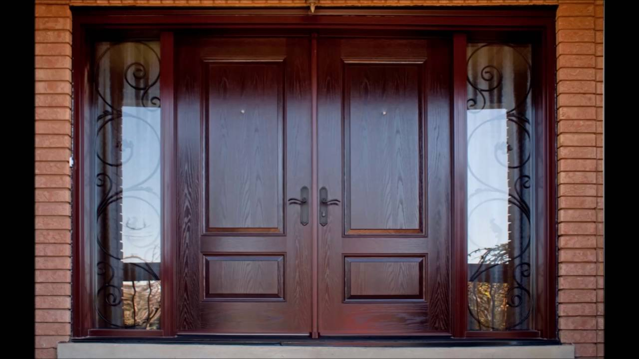 Modern front door design youtube for Small double front doors