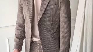 [그남자] 도톰 스트라이프 겨울 수트 자켓