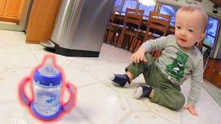 BABY DOES A BOTTLE FLIP 2!
