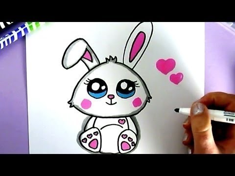 How to draw a cute bunny rabbit happy drawings youtube for Hase malen