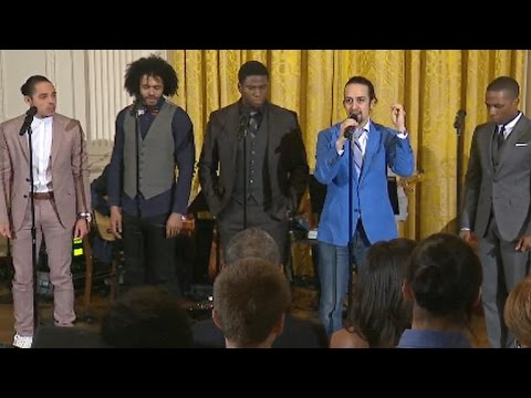 Hamilt cast performs My Shot at White House