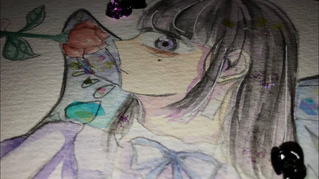 蝶々の擬人化描いてみた🦋【水彩】【イラストメイキング】
