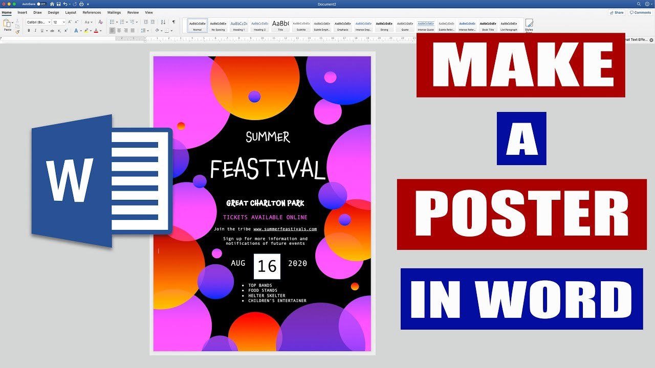 How to make a POSTER in Word  Microsoft Word Tutorials