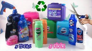 Plastik Deterjan Bidonu ve Şampuan Şişeleri İle Yapabilecek 5 Fikir | 5 Plastic Bottle Craft Ideas