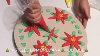FLORES NAVIDEÑAS NOCHEBUENA CON CREMA PASTELERA / para principiantes