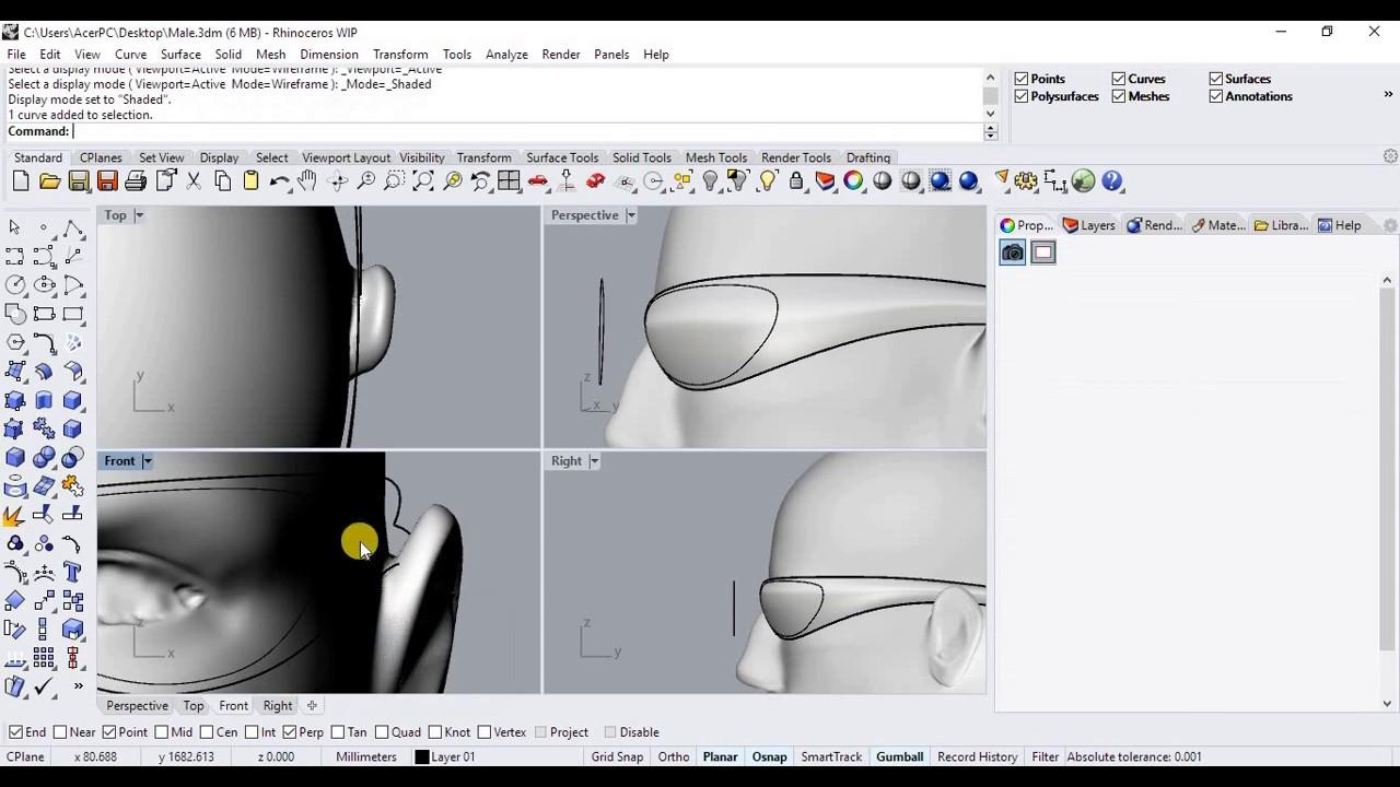 Rhinoceros 6 0 WIP ile Güneş Gözlüğü Modelleme Bölüm 1