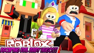 ESCAPING FROM EVIL BABY HUGO|| ROBLOX OBBY FACECAM!!! W/ LITTLE DONNY- Baby Leah Minecraft Roleplay!