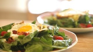 Warm Spinach Salad, Bacon And Fried Egg Recipe || Kin Eats