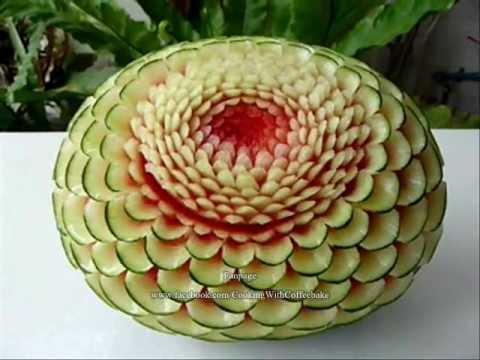 แกะสลักแตงโมลายบานชื่่นติดเปลือก #6 Watermelon Carving@6