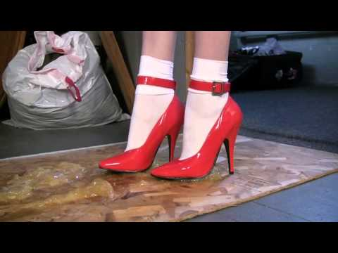 red heels in glue