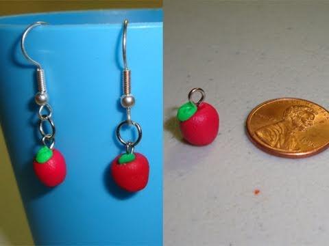 5df114f6d17e Cómo hacer manzanas rojas para aretes con arcilla polimerica ...