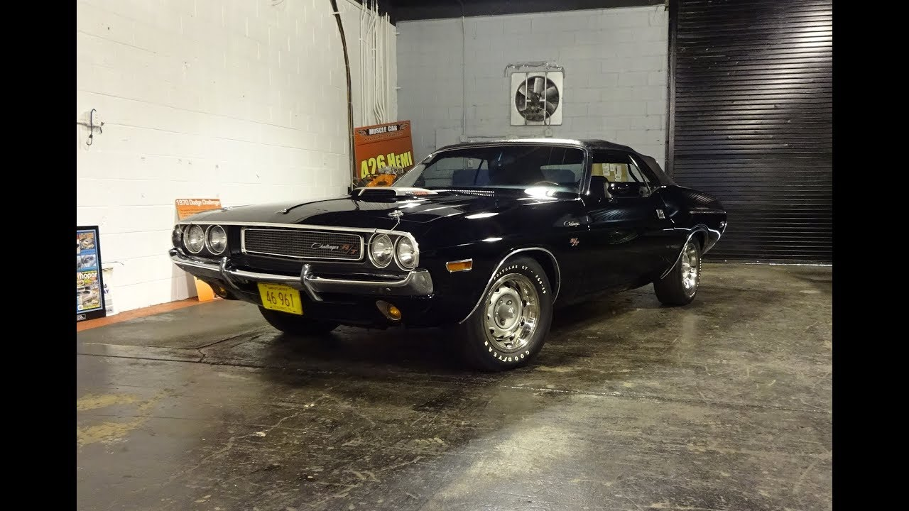 1970 Dodge Challenger R T Convertible In Black 440 Engine Sound On