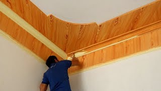 Construction Fake Wood Ceiling || How To Create Wood Grain Effect On The Ceiling