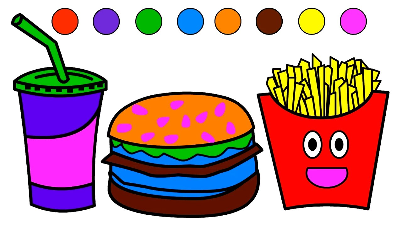 learn colors for kids with fast food coloring page coloring book