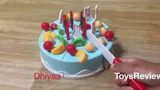 Powertrc Birthday Cake 75pcs Pretend Play Food Toy Set Blue