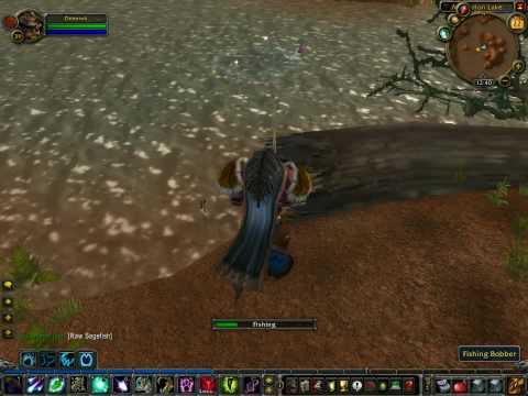 World Of Warcraft Tauren Druid Fishing Mirkfallon Lake Raw Sagefish Watertight Trunk WoW