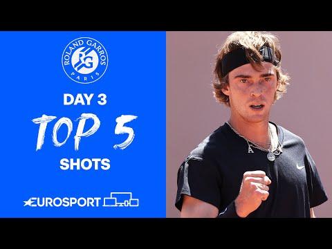 Top 5 Shots - Day 3 | 2021 Roland Garros | Tennis | Eurosport