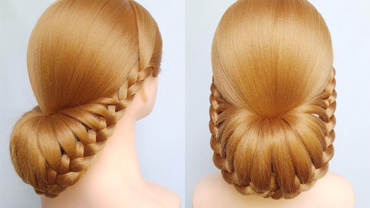 Các kiểu tết tóc đẹp đơn giản dễ làm | Low bun hairstyle for wedding | Braided hair style girls