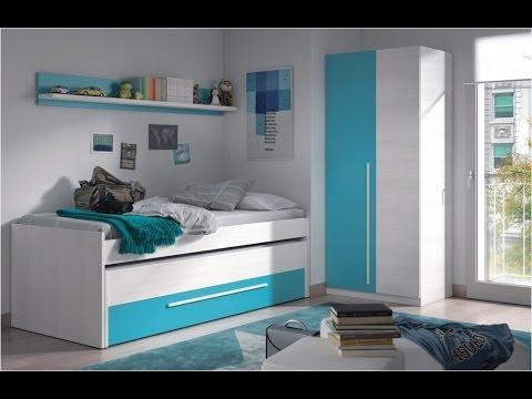 Pack de cama nido 2 camas cajon con estante y armario for Cama nido color haya