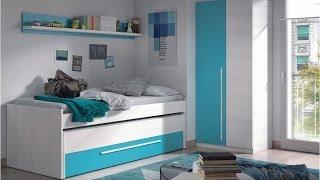 Gambar cover Pack de Cama nido (2 camas + cajón) con estante y armario Juvenil, color blanco combinado con azul.