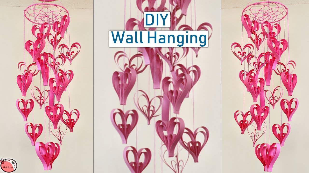 paper heart wall hanging diy home decoration idea handmade