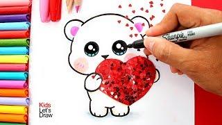 Aprende a dibujar un OSITO con un CORAZÓN (San Valentín) | How to draw a Bear with a Glitter Heart