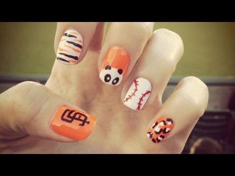 San Francisco GIANTS baseball nails! - YouTube