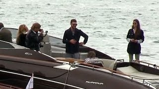 Superstar Justin Timberlake and Anna Kendrick on a boat ride promoting Dreamworks Trolls at the 69th