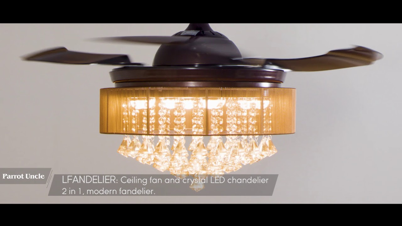 Retractable Crystal Led Ceiling Fan With Light Remote
