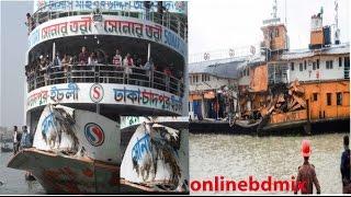 লঞ্চের মুখোমুখি দৃশ্য !! best journey by launch in Bangladesh Full HD