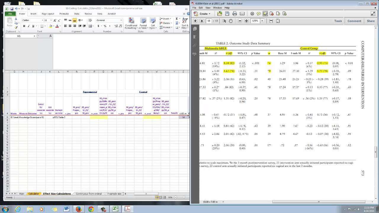 Excel Spreadsheet Effect Size Calculator: Design 1, t-tests - YouTube