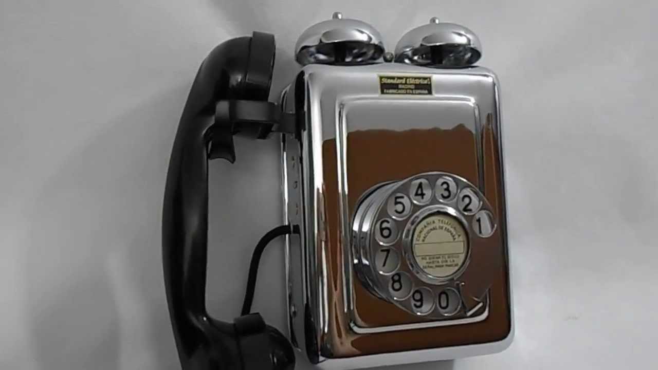 Telefono antiguo standard electrica pared cromado youtube for Grifos antiguos de pared