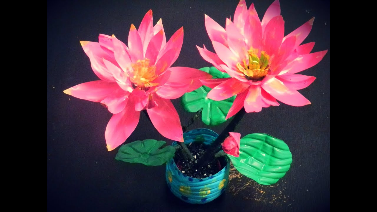 Recycled Diy How To Make Lotus Flowers With Waste Water Bottles