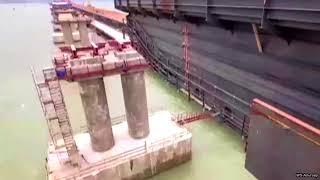 Крымский мост Надвижка железнодорожных пролетов