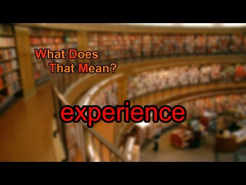 What does experience mean?
