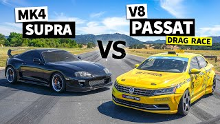 MKIV Supra vs. The World's Most Rowdy LS7 Passat (With 8 to 1 Headers!) // This vs. That
