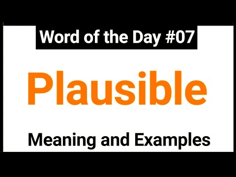 Word of the Day 07 Plausible